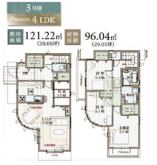 【小平市御幸町 新築戸建分譲3棟 ゆとりのある贅沢な家】間取図面